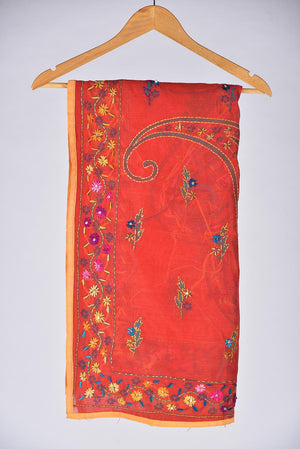 Red Embroidered Duppata