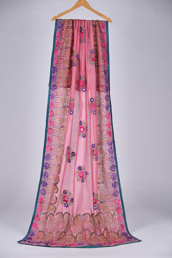Pink embroidered Duppata