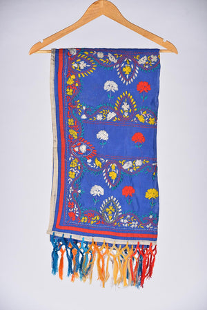 Blue Embroidered Duppata