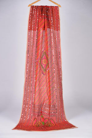 Red Embroidered Duppata 3