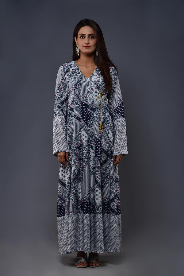 Blue and White abstract Print Malai Lawn Angarka