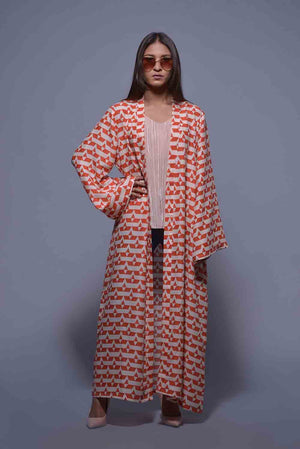 Tribal Patchwork Style Print Linen Cape