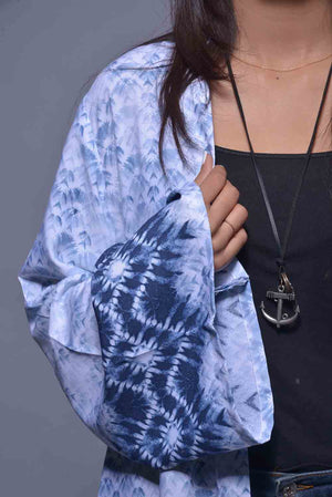 Denim Look Tie Dye Print Linen Cape