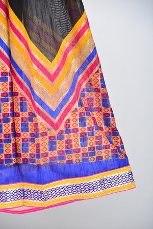Black and Multicoloured Chevron Tribal Indian Silk Lengha with Purple Gota style Border