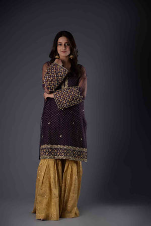Purple Self Embossed Net Style Kurta With Threadwork and Hand Embroidered Details