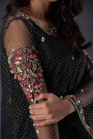 Black Self Embossed Net Shift Style Tunic Kurta With Thread And Hand Embroidery