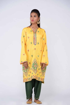 Yellow Indian Silk Chatapatti Gota Kurta