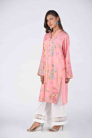 Baby Pink Hand Embroidered Kurta With Threadwork Embroidery