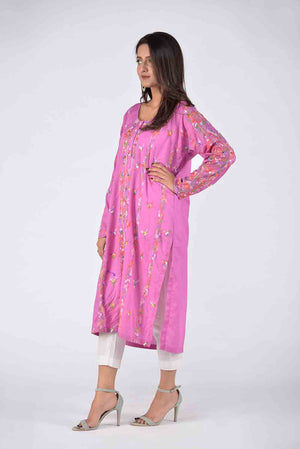 Purple Hand Embroidered Kurta With Threadwork Embroidery