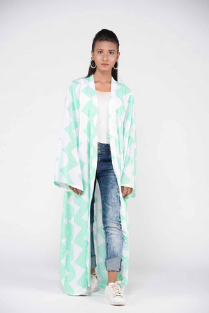 Green and white zig zag pattern linen cape