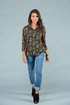 Black And Neon Print Chunri Button Down Style Top