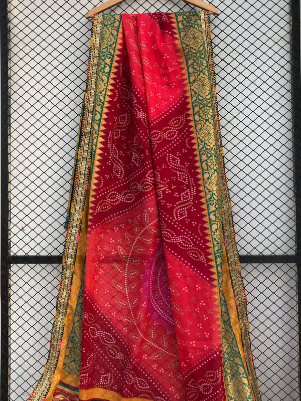 Watermelon Pink Orange and Red Shades of Chunri Print and Gota border Style Dupatta