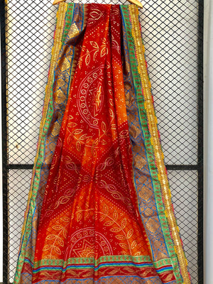 Maroon and Rust Shades of Chunri Print and Gota border Style Dupatta