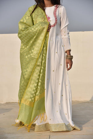 Apple Green Cotton Banarsi Jamawar Motif Handloom Style Dupatta
