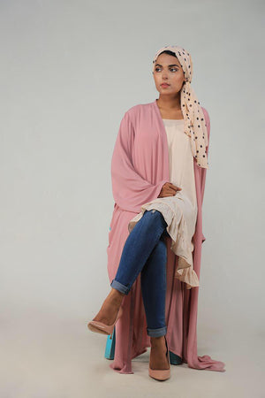 Pastel Pink Georgette Modest Cape