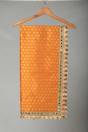 Yellow Banarsi Duppata with Beige and Gold Finishing