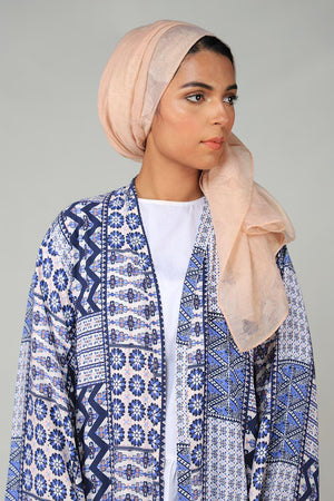 Blue Abstract Printed Cape