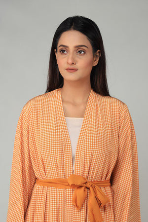 Mustard Houndstooth Printed Cape