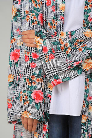 Gray Checkered with Retro Floral Cape