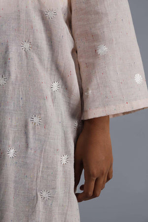 Light Peach Textured Appliqué Foral Detail Kurta