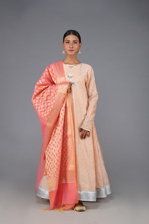 Peach Cotton Silk Bougainvillea Embroidery and Gota Lace Finish Angarka