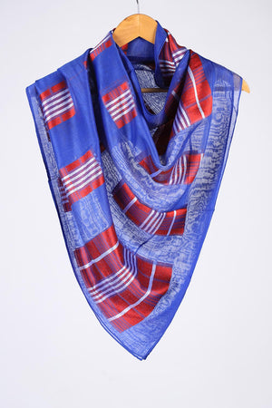 Ink Blue Khaddi Silk Threadwork Sketch Pattern Scarf
