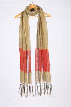 Multicoloured Beige base Handloom Khaddi Cotton Dupatta