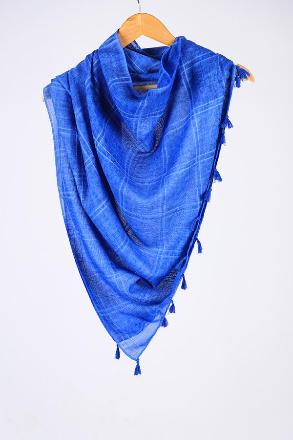 """Sooti""  Blue Cotton Checkered Scarf"