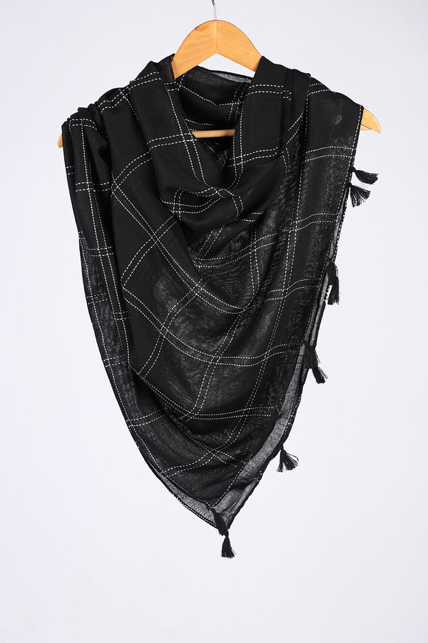 """Sooti""  Black Cotton Checkered Scarf"