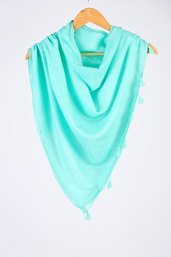 """Sooti""  Aqua Cotton Checkered Scarf"