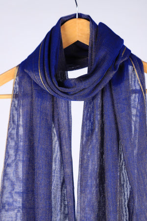 Multicoloured Blue base Handloom Khaddi Cotton Dupatta