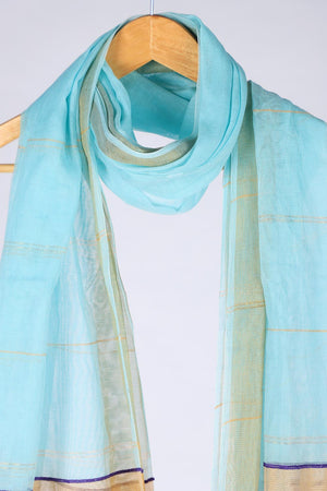 Multicoloured Sky Blue base Handloom Khaddi Cotton Dupatta