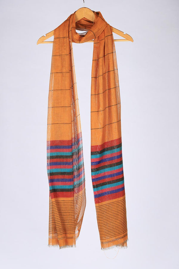 Multicoloured Brown base Handloom Khaddi Cotton Dupatta