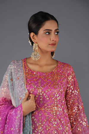Purple Chiffon Chunri Bahawalpur Gota work shirt with ice blue and ivory white tie and dye shaded gota Dupatta