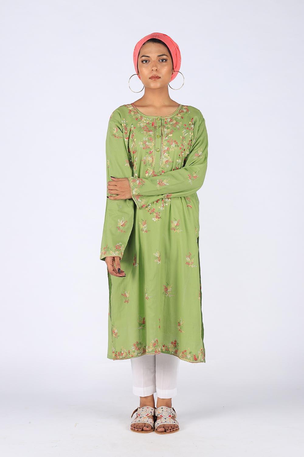 f6128bf9109 Green Hand Embroidered Kurta With Threadwork Embroidery - Zari Faisal