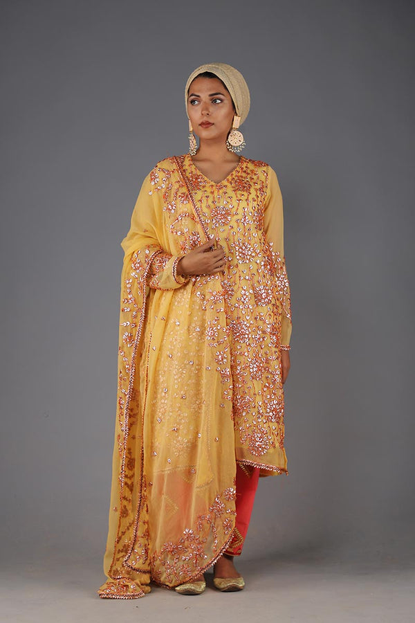 Lemon Yellow Mayun Chiffon Gota Work Style Shirt with matching Gota Dupatta