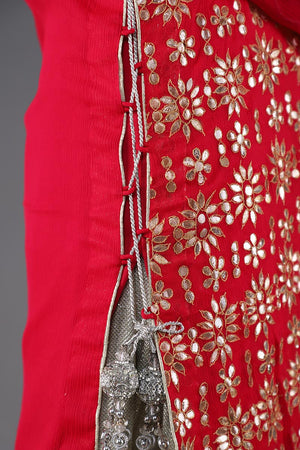 Shocking Pink Chiffon Bahawalpur Hand Gota Work Shirt With Dori Detail Side Seams and Gota Chan with Kiran Border Finishing Detail Dupatta