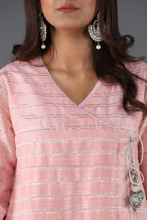 Baby Pink and Silver Cotton short angarka with embellished tassel details