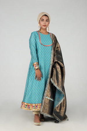 Blue Khaddi Net Anarkali With Chatapatti Border