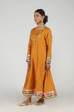 Mustard Khaddi Net Anarkali With Chatapatti Border