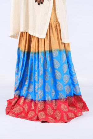 Pink, Blue and Beige Block Print Gharara