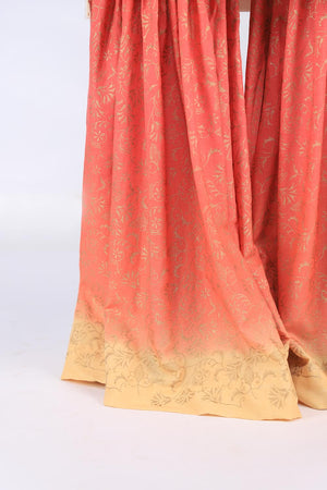 Peach and Beige Block Print Gharara