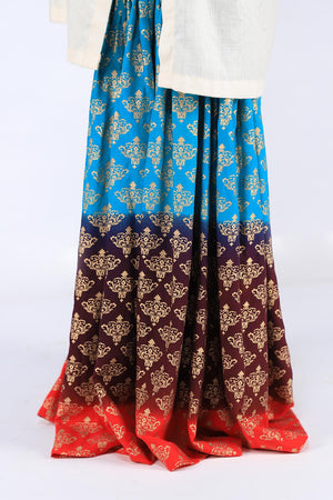 Red, Purple and Blue Block Print Gharara