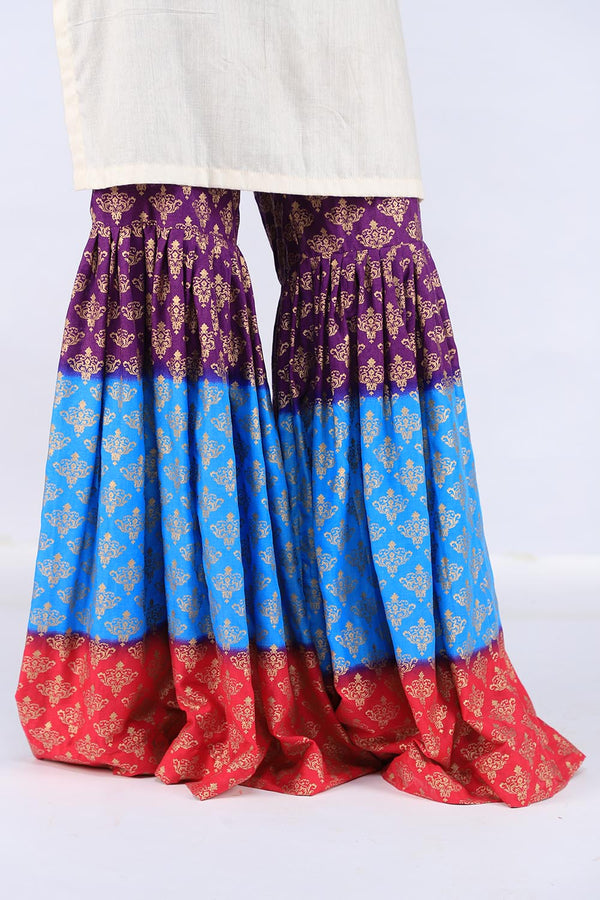 Blue, Purple and Red Block Print Gharara
