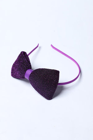 PURPLE SHIMMER BOW HEADBAND