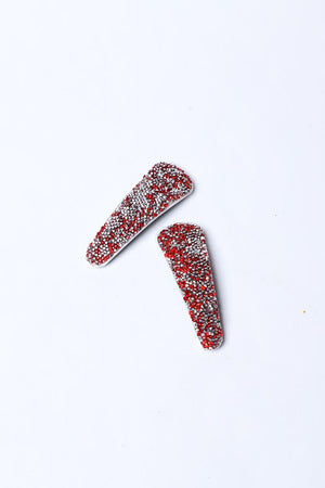 RED AND SILVER DIAMANTE HAIRCLIPS