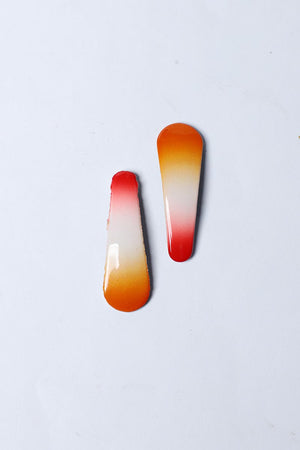 ORANGE AND RED GRADIENT SNAP HAIR CLIPS