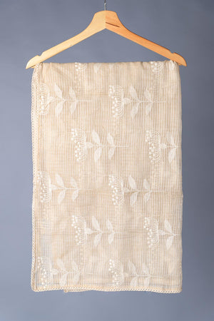 Beige Vintage cotton net Dupatta With Heavy embroidery Style Work