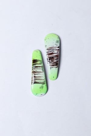 GREEN TEXTURED RESIN HAIR CLIP