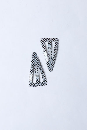 TRIANGLE SHAPED POLKA DOT SNAP HAIR CLIPS